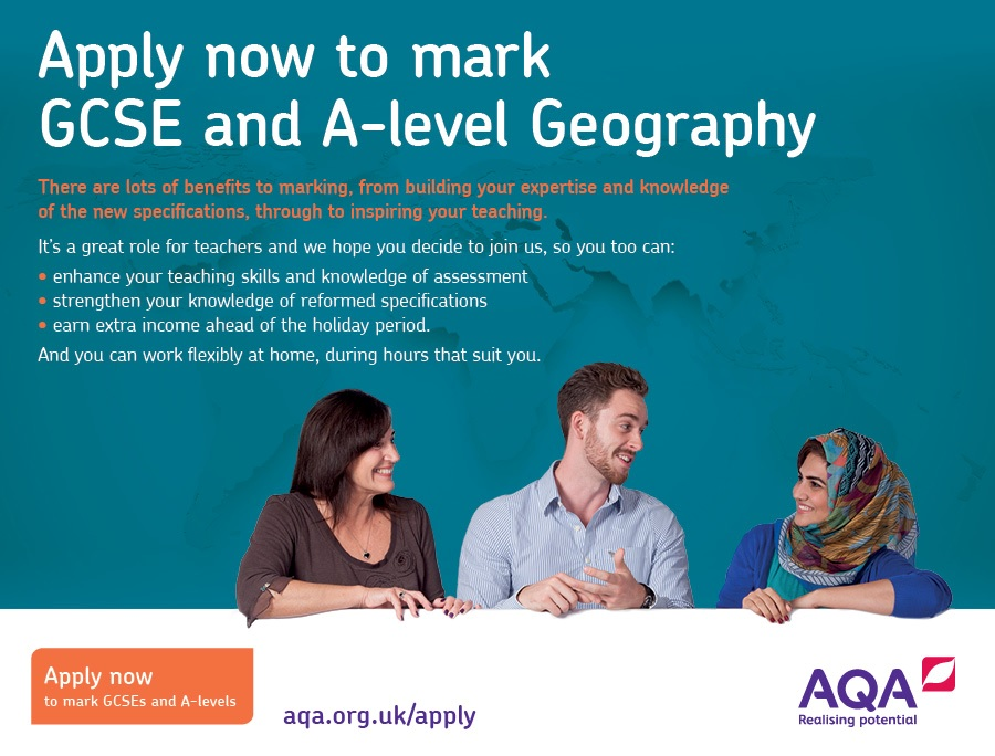 Apply now to mark GCSE and A level geography