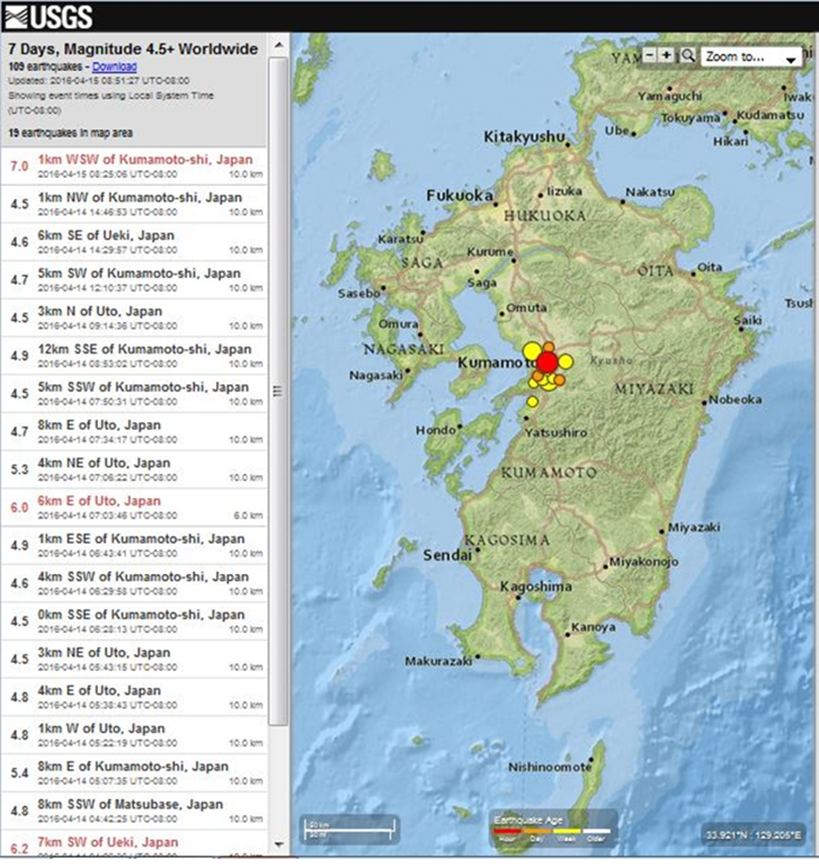 Geographical Association Japan Earthquake Causes Impacts - Japan quake map 2016