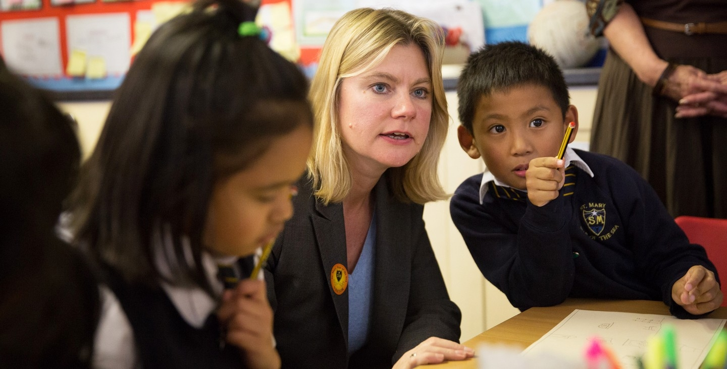 Secretary of State Justine Greening launches the GLP at St Mary Star of the Sea School, Hastings (DfID image)