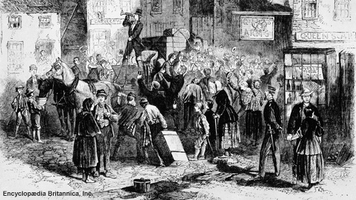 Irish emigrants fleeing Ireland because of potato famine
