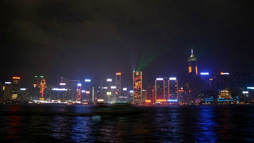 Hong Kong Island from Kowloon at night