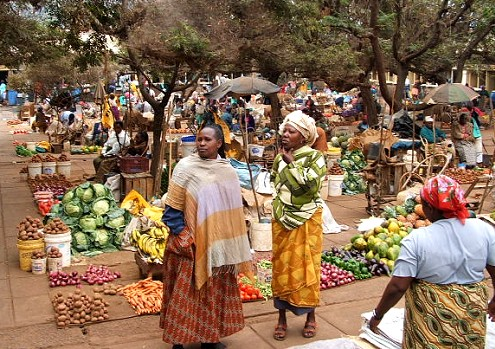 The bustling vegetable section of Machakos market