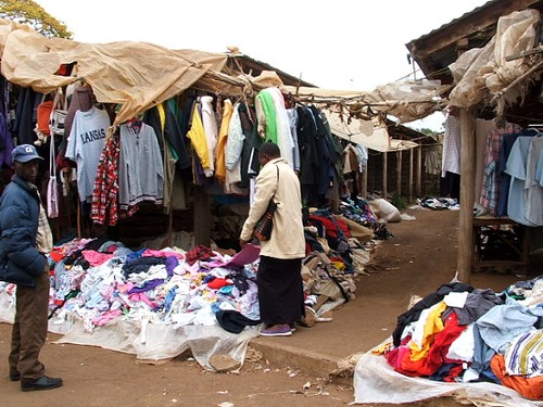 The second hand clothing section of Machakos market