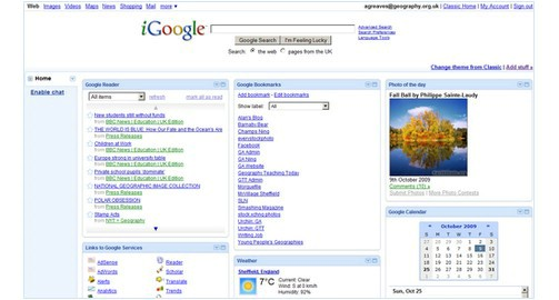 Sample iGoogle homepage - the Google Reader gadget appears in the top left corner