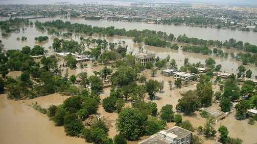 Aerial view of flooding in Pakistan