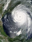 Sattelite image of hurricane Katrina. NASA.