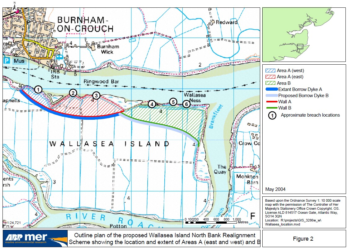 Outline plan of the proposed Wallasea Island North Bank Realignment Scheme