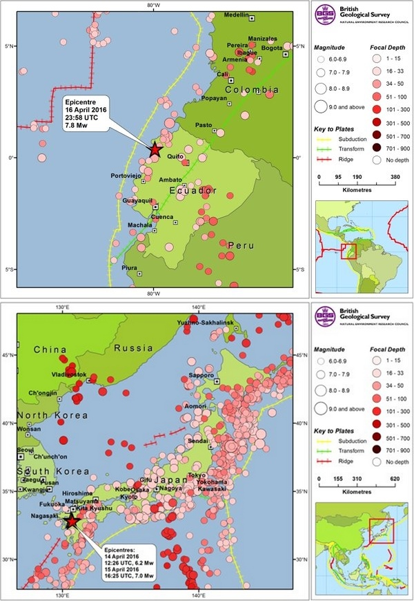 Are the japan and ecuador april 2016 earthquakes related british geological survey maps of the april 2016 ecuador and japan earthquakes gumiabroncs Image collections